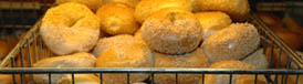 Freshly baked bagels at Rosenfeld's in Newton Centre, MA. Photo by Maggie Holtzberg.