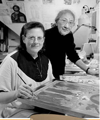 Russian iconographers Ksenia Pokrovsky (right) and Sister Faith Riccio