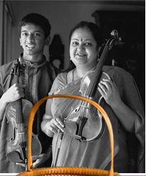 Carnatic violinists Tara Anand Bangalore (right) and Suhas Rao