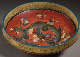 Rosemaling bowl by Rebecca Wilhelmsen, 2007. Photo by Jason Dowdle.