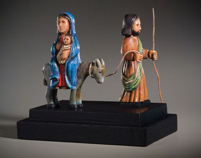 La Huida a Egipto, Santo, The Flight to Egypt, Puerto Rican woodcarving, 2006; Carlos Santiago Arroyo (b. 1947); Amherst, Massachusetts; Tropical cedar, gesso, acrylic, metal; 11 1/4 x 12 1/4 x 7 1/2 in.; Private Collection; Photography by Jason Dowdle