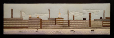 Mile of Mills, Wall hanging, mid 20th century; Sally Palmer Field (b. 1922); Chelmsford, Massachusetts; Lowell textile mills cotton fabric; 18 1/2 x 63 1/2 x 1 1/2 in.; Collection of the artist; Photography by Jason Dowdle
