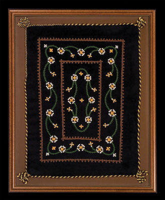 Pillowcase, Armenian embroidery, 1951;  (b. 1934); Lexington, Massachusetts; Velvet, cotton thread; 30 x 24 x 1 1/2 in. framed; Collection of the artist; Photography by Jason Dowdle
