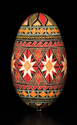 Pysanki, Ukrainian decorated egg, 2006; Carol Kostecki (b. 1943); Montague Center, Massachusetts; Resist-dyed goose egg; 3 7/8 x 2 1/4 in. diam.; Collection of the artist; Photography by Jason Dowdle