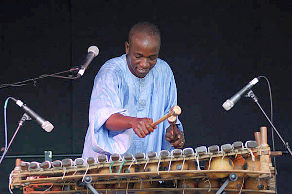 Balla Kouyaté with balafon. Photography by Alison Williams., Malian musician, 2007; Balla Kouyaté (b. 1973); Medford, Massachusetts;