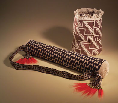 Quiver, 2005 and Food Storage Basket, 1998, Wampanoag twined basketry, ; Julia Marden (b. 1962); Falmouth, Massachusetts (now living in Vermont); Natural linen twine; Quiver: 3 1/2 in. diam. x 22 1/2 in. Basket: 11 x 7 1/2 diam. at base; Collection of Mashantukcet Pequot Museum; Photography by Jason Dowdle