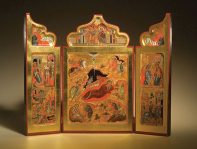 Triptych of the Holy Nativity of Christ, Russian icon, 2000; Ksenia Pokrovsky (b. 1942); Sharon, Massachusetts; Egg tempera, mineral pigments, gold leaf, wood; 14 1/2 x 17 5/8 x 1 in. open; Collection of the artist; Photography by Jason Dowdle