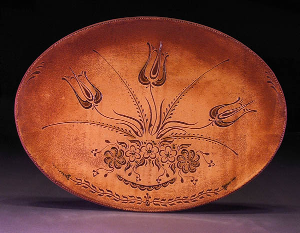 Sgraffito decorated floral platter, Redware pottery, 2009; Stephen Earp; Shelburne Falls, Massahcusetts; Clay, glaze; 14 x 19 in.;