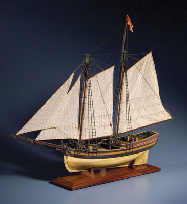 The Schooner Primrose of Marblehead, Full-hull ship model, 2002; Mark Sutherland (b. 1954); Concord, Massachusetts; Wood, cotton; 31 3/4 x 39 x 7 1/2 in; Collection of the artist; Photography by Jason Dowdle