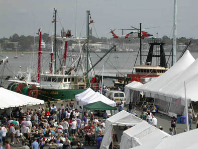 View of festival and crowds.  Photo courtesy of WWF, Maritime Festival, 2005; Working Waterfront Festival; New Bedford, Massachusetts;