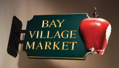 Bay Village Market, Hand carved sign, 1993; Gneal Widett (b. 1946); Boston, Massachusetts; Wood, paint, gold leaf; 25 3/4 x 51 x 17 1/2 in.; Private Collection; Photography by Jason Dowdle