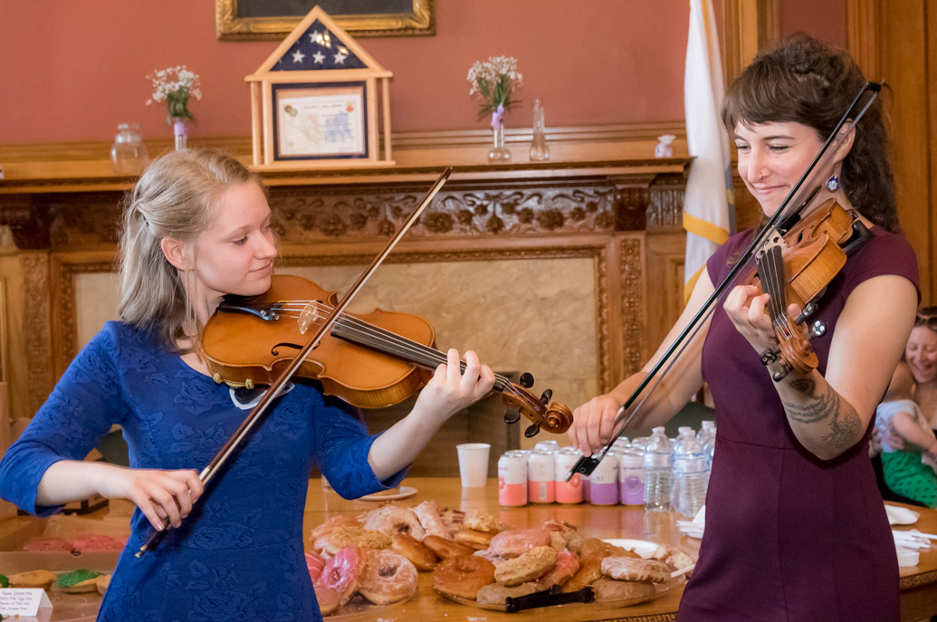 Elizabeth Kozachek and Emerald Rae Forman performing at Massachusetts State House.; Cape Breton and Scottish fiddling; 2017: Boston, Massachusetts