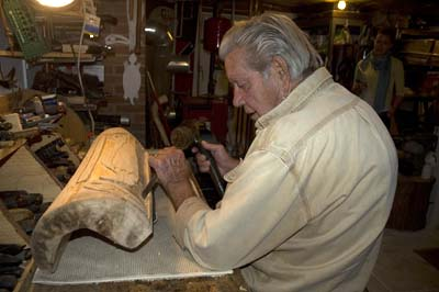 Joseph Johns at his workbench; Woodcarving; 2008: New Salem, Massachusetts; Tulip wood; Collection of the artist