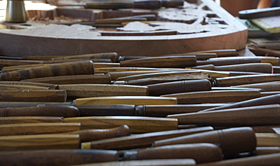 Woodcarving tools on Dimitrios' workbench; Architectural and ornamental woodcarving; 2014: Hampden, Massachusetts; wood, steel