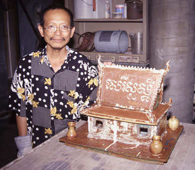 Yary Livan with spirit house: :
