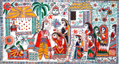Traditional Indian marriage; North Indian Mithila art; 2016: Acton, Massachusetts; Acrylic on paper